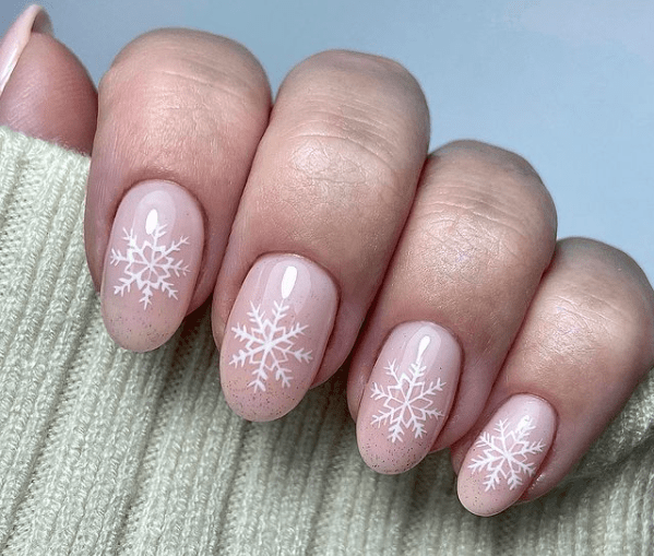 french pink nails with snowflake nail art