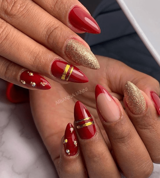 glitter christmas nail designs for winter
