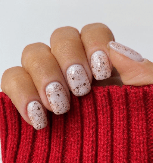 gold glitter holiday nails