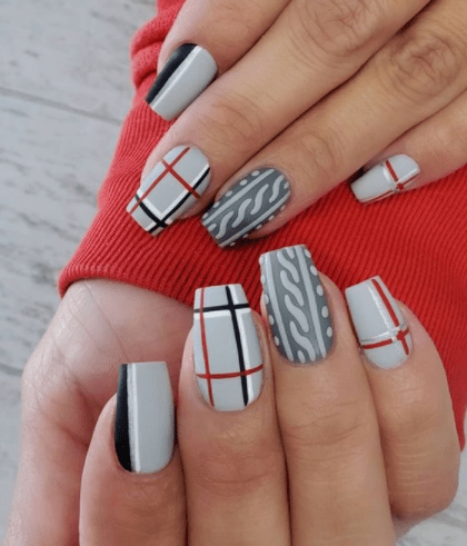 gray plaid winter nail design