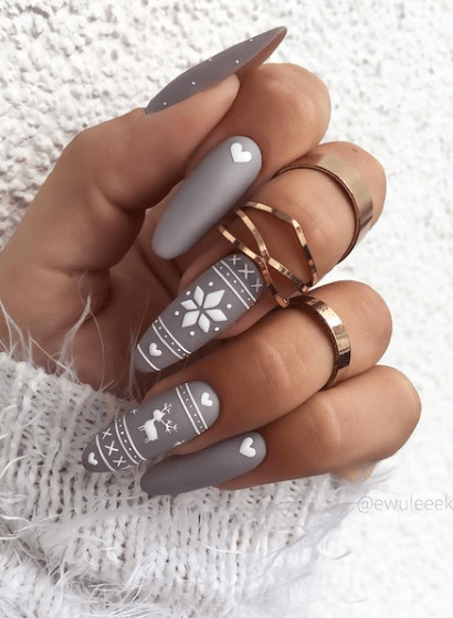 matte gray winter nail designs