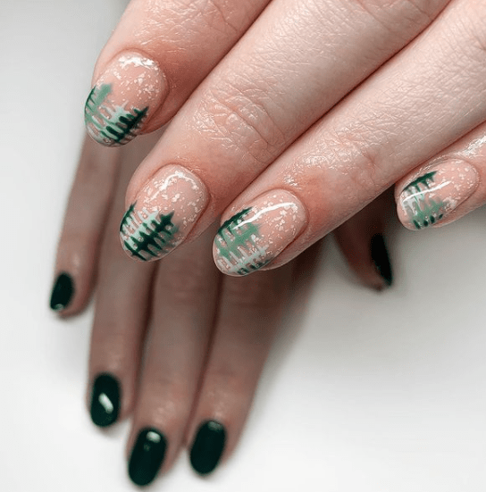 pine tree nail art for winter