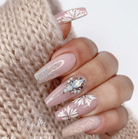 pink acrylic holiday nail design