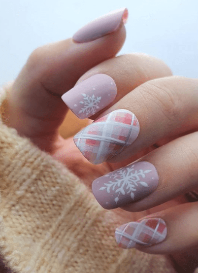 pink plaid holiday nail designs winter