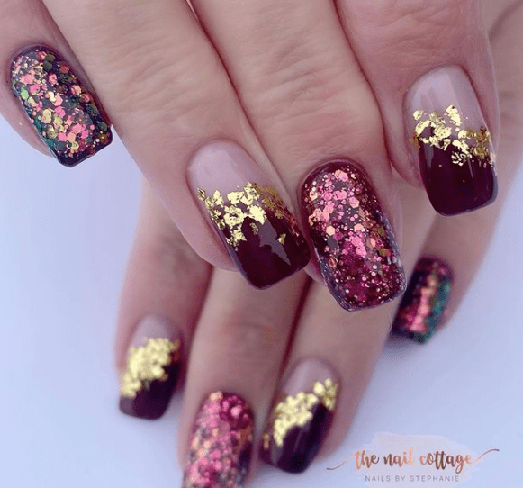 purple glitter festive nails winter
