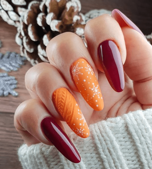 red and orange winter nails