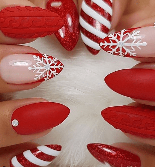 red holiday nail designs winter