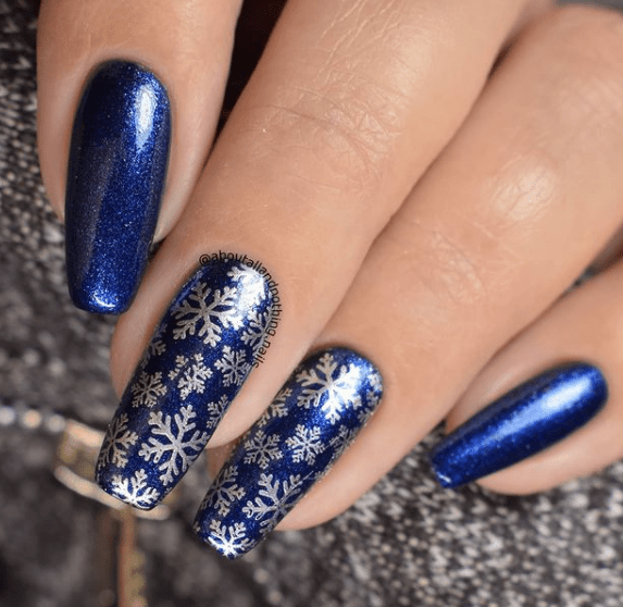 royal blue nail designs for winter