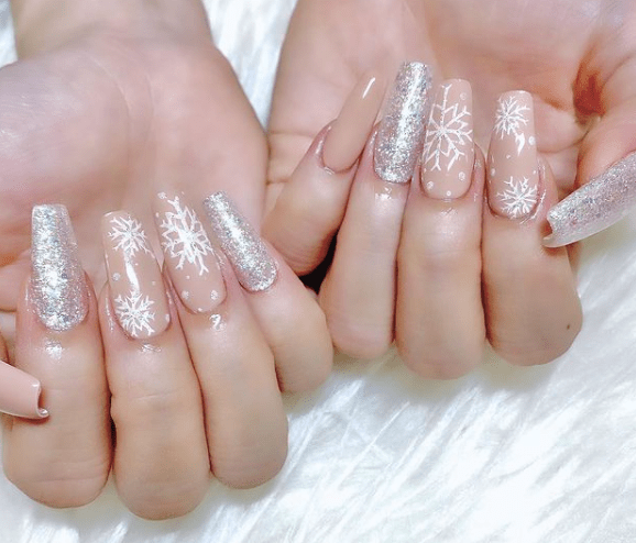 Silver and Nude winter nail designs
