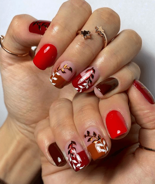 winter leaf nail art
