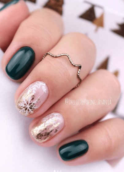 winter nail design ideas green