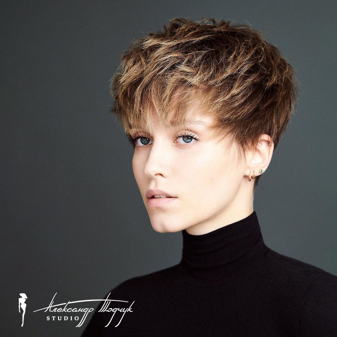 Layered Pixie for Thick Hair with Bangs