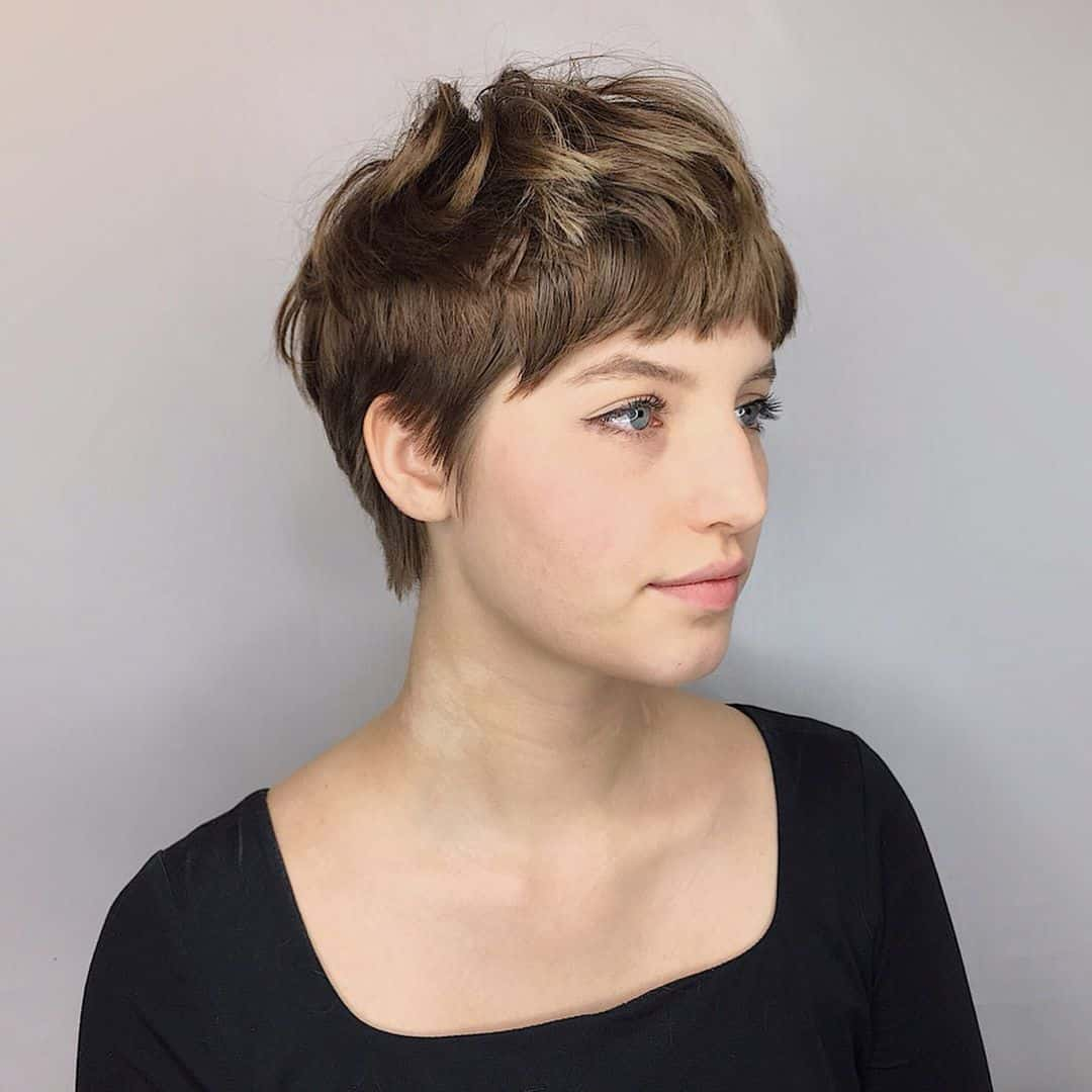 Messy Pixie and Bangs and Long Layers hairstyle