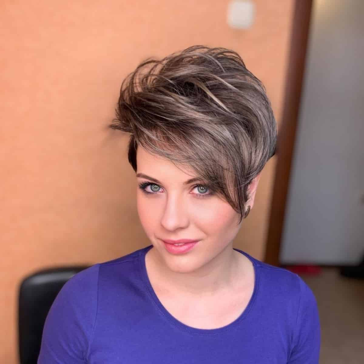 Wavy Long Pixie with Bangs