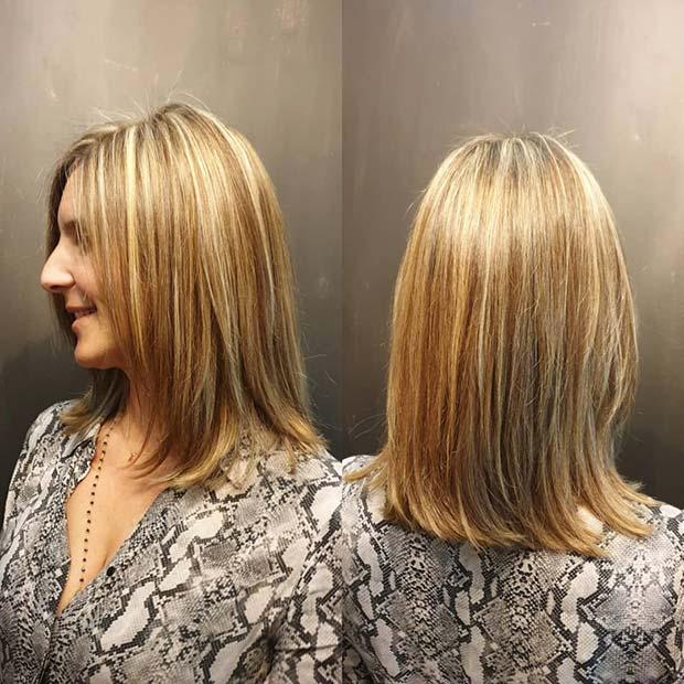 Easy to Wear Layered Hair with Highlights